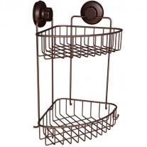 Suction Cup Corner Shower Caddy 2 Tier with Hooks HA-73132BR (BRONZE)