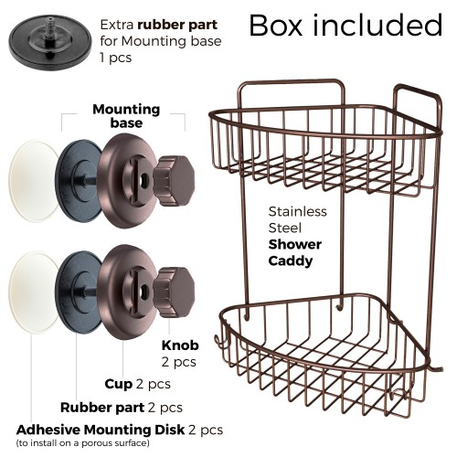 Suction Cup Corner Shower Caddy 2 Tier With Hooks Ha 73132br Bronze