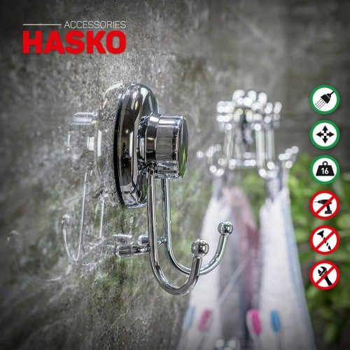 Suction Cup Hooks for Shower Stainless Steel SS304 Towel Holders 2 Pack Heavy Duty Bathroom Hooks for Hanging Towel Hooks for Bathroom Wall Mounted Shower Hooks Black HASKO accessories