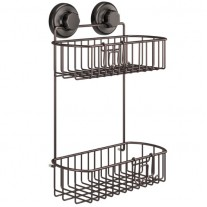 Suction Cup Shower Caddy with Hooks (2 Tier) HA-73136BR (BRONZE)