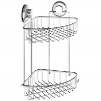 Suction Cup Corner Shower Caddy 2 Tier with Hooks HA-73132B